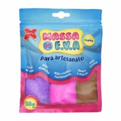 Kit-Massa-de-Modelar-E.V.A-Lisa-Foamy-Make-Mais-para-Artesanato-5-Cores-50g-Branco---Rosa---Marrom---Roxo---Vermelho