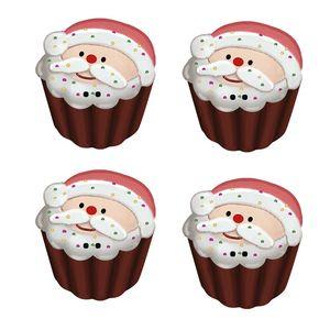 Botoes-em-Madeira-MDF-e-Papel-Natal-Litoarte-BMPN-014-Cupcake-de-Papai-Noel