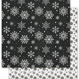 Papel-Scrapbook-Natal-Litoarte-305x305cm-SDN-027-Flocos-de-Neve-Preto-e-Branco
