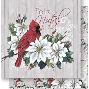 Papel-Scrapbook-Natal-Litoarte-305x305cm-SDN-050-Passaro-e-Poinsetia