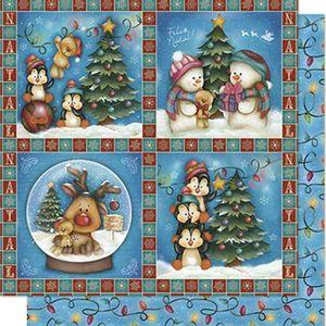 Papel-Scrapbook-Natal-Litoarte-305x305cm-SDN-079-Pinguins-e-Boneco-de-Neve