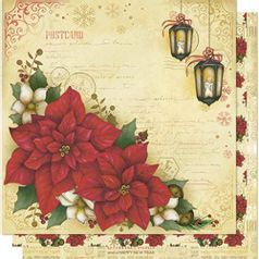 Papel-Scrapbook-Natal-Litoarte-305x305cm-SDN-082-Poinsetias-e-Luminaria