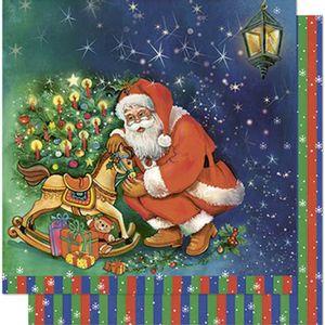 Papel-Scrapbook-Natal-Litoarte-305x305cm-SDN-086-Papai-Noel-e-Cavalinho