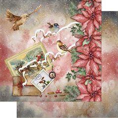 Papel-Scrapbook-Natal-Litoarte-305x305cm-SDN-090-Poinsetias-com-Postais-e-Passaros