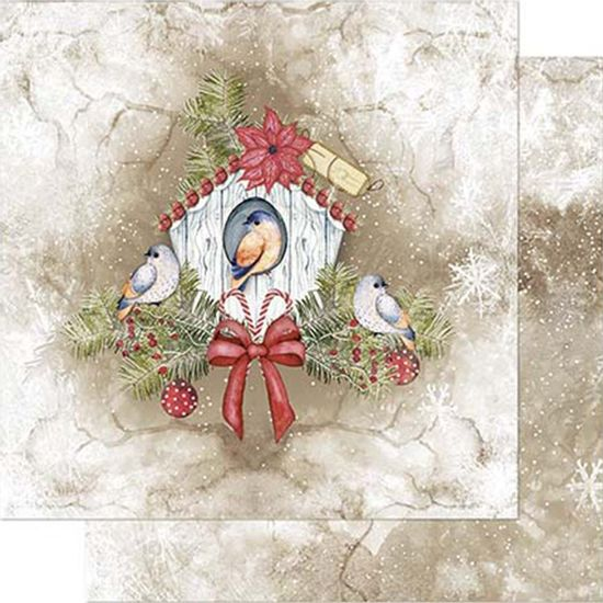 Papel-Scrapbook-Natal-Litoarte-305x305cm-SDN-092-Casa-de-Passarinho-Branca