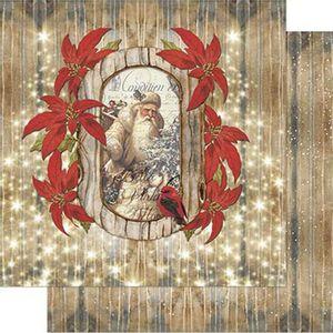 Papel-Scrapbook-Natal-Litoarte-305x305cm-SDN-093-Papai-Noel-com-Poinsetias