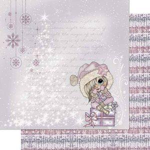 Papel-Scrapbook-Natal-Litoarte-305x305cm-SDN-109-Menina-Sentada-Caixa-de-Presente