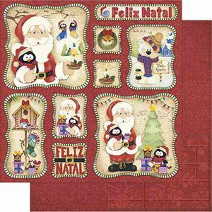 Papel-Scrapbook-Natal-Litoarte-305x305cm-SDN-113-Papai-Noel-e-Urso