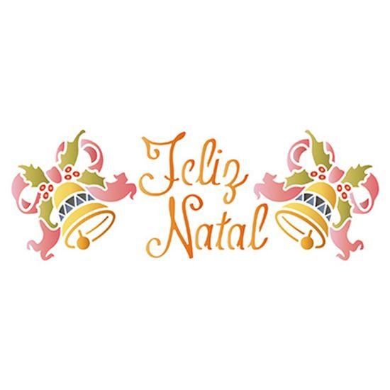 Stencil-Litoarte-Natal-17x65cm-Pintura-Simples-STNP010-Feliz-Natal-e-Sinos-com-Lacos
