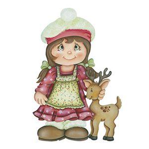 Aplique-Decoupage-Natal-Litoarte-APMN8-077-em-Papel-e-MDF-8cm-Menina-e-Rena