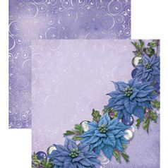 Papel-Scrapbook-Natal-Litoarte-305x305cm-SDN-017-Poinsetias-Azuis