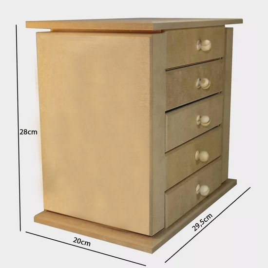 Comoda-em-MDF-5-Gavetas-e-2-Portas-Lisa-28x30x20cm---Palacio-da-Arte