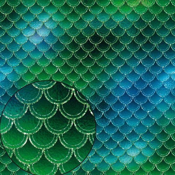 Papel-Scrapbook-Litocart-LSC-340-Simples-305x305cm-Estampa-Escama-Sereia-Verde