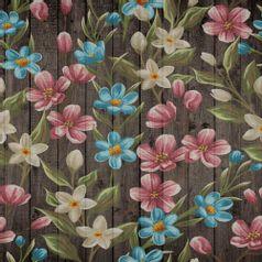 Papel-Scrapbook-Litocart-LSCE-048-305x305cm-Flores-com-Fundo-Madeira