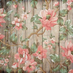 Papel-Scrapbook-Litocart-LSCE-049-305x305cm-Flores-e-Galhos-com-Fundo-Madeira