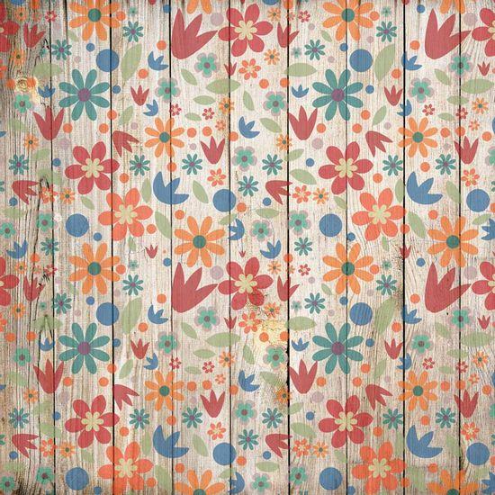 Papel-Scrapbook-Litocart-LSCE-051-305x305cm-Flores-Primavera-Fundo-Madeira