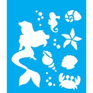 Stencil-Litocart-25x20cm-Pintura-Simples-LSG-135-Sereia-Fundo-do-Mar