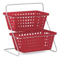 Organizador-de-Bancada-Duplo-com-2-Cestas-n°2-Niquelart-375-5-Vermelho