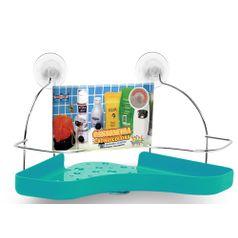 Porta-Shampoo-Cantoneira-Simples-Niquelart-305-6-Cromo-Colors-Aco-e-Plastico-Turquesa