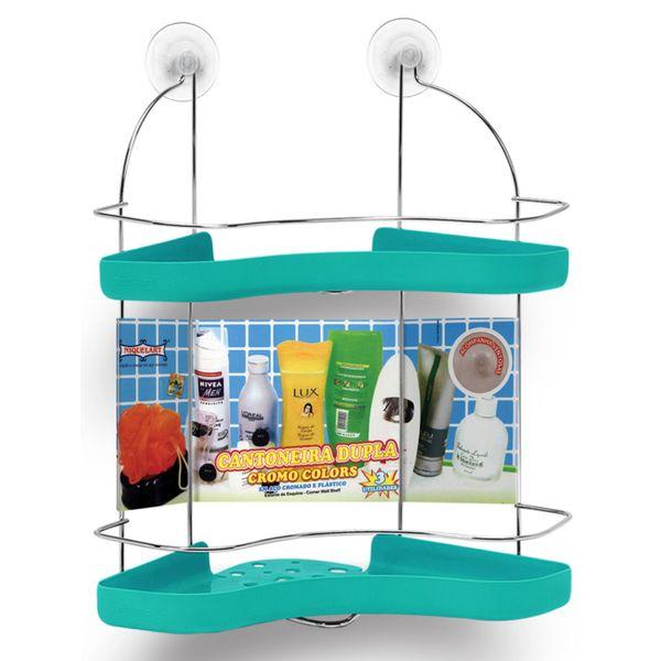 Porta-Shampoo-Cantoneira-Dupla-Niquelart-306-6-Cromo-Colors-Aco-e-Plastico-Turquesa