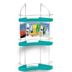 Porta-Shampoo-Cantoneira-Tripla-Niquelart-307-6-Cromo-Colors-Aco-e-Plastico-Turquesa