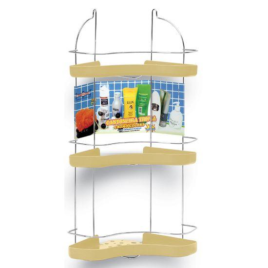 Porta-Shampoo-Cantoneira-Tripla-Niquelart-307-11-Cromo-Colors-Aco-e-Plastico-Areia