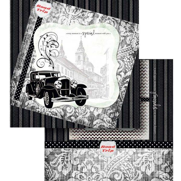 Papel-Scrapbook-Litocart-LSCD-443-Dupla-Face-305x305cm-Carro-Antigo-Preto-e-Branco