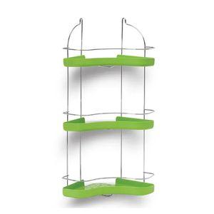 Porta-Shampoo-Cantoneira-Tripla-Niquelart-307-3-Cromo-Colors-Aco-e-Plastico-Verde