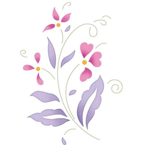 Stencil-Litoarte-10x10-STX-362-Flores-e-Folhas