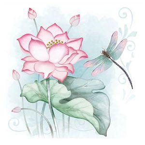 Papel-para-Arte-Francesa-Litoarte-21x21-AFQ-427-Flor-de-Lotus---Libelula