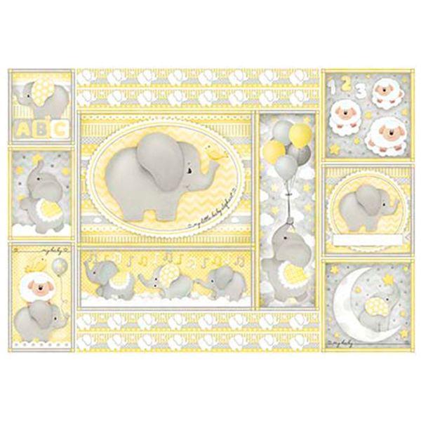 Papel-Decoupage-Litoarte-343x49-PD-987-Elefante-Bebe-Amarelo