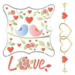 Stencil-Litoarte-25x25-STXXV-018-Casal-de-Passaros-Love