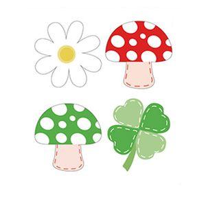 Aplique-Decoupage-Litoarte-APM3-274-em-Papel-e-MDF-3cm-Margarida-Trevo-Cogumelos