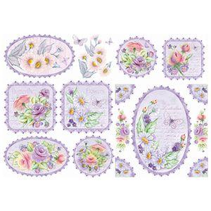 Papel-Decoupage-Litoarte-343x49-PD1-080-Rosas-e-Margaridas-Fundo-Lilas