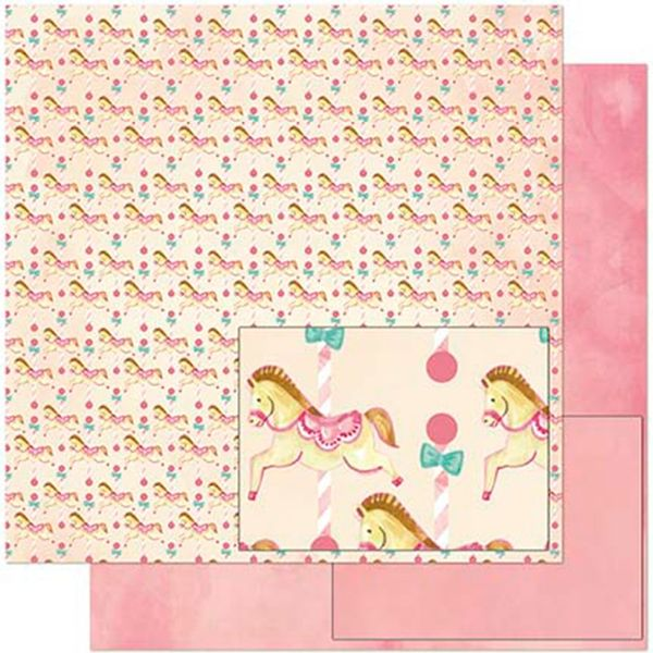 Papel-Scrapbook-Litoarte-305x305-SD-922-Estampa-Cavalinhos-Infantis