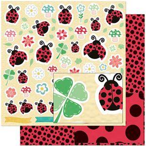 Papel-Scrapbook-Litoarte-305x305-SD-931-Joaninhas-Flores-e-Trevos