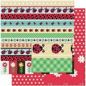 Papel-Scrapbook-Litoarte-305x305-SD-932-Barras-de-Joaninhas-e-Flores