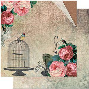 Papel-Scrapbook-Litoarte-305x305-SD-937-Rosas-Vintage-Gaiola-e-Passaro