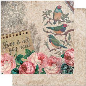 Papel-Scrapbook-Litoarte-305x305-SD-939-Passaros-e-Rosas-Vintage