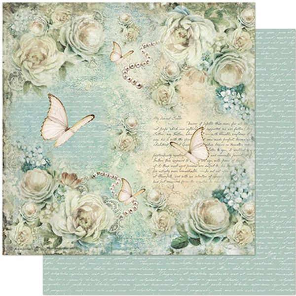 Papel-Scrapbook-Litoarte-305x305-SD-954-Rosas-e-Borboleta-Vintage