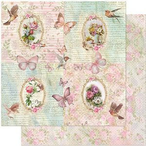 Papel-Scrapbook-Litoarte-305x305-SD-955-Flores-Molduras-e-Passaros