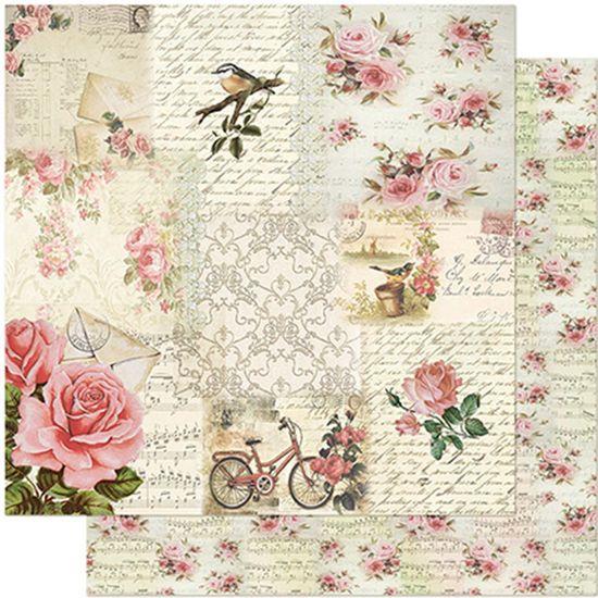 Papel-Scrapbook-Litoarte-305x305-SD-956-Rosas-Passaro-e-Bicicleta