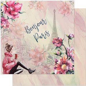 Papel-Scrapbook-Litoarte-305x305-SD-957-Jovem-Flores-e-Torre-Eiffel