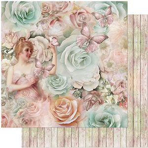 Papel-Scrapbook-Litoarte-305x305-SD-966-Dama-Borboleta-e-Rosas