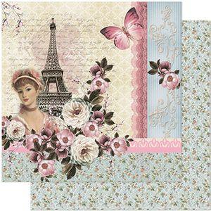 Papel-Scrapbook-Litoarte-305x305-SD-967-Torre-Eiffel-Dama-e-Flores
