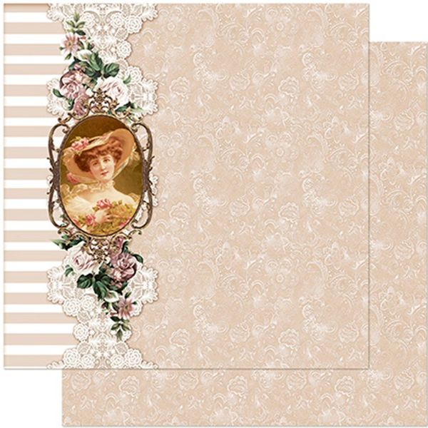 Papel-Scrapbook-Litoarte-305x305-SD-970-Moldura-com-Dama-Renda-e-Listras