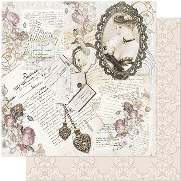 Papel-Scrapbook-Litoarte-305x305-SD-972-Dama-na-Moldura-e-Cartas-Vintage