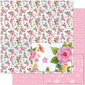 Papel-Scrapbook-Litoarte-305x305-SD-976-Padrao-Flores-Rosas-e-Borboletas