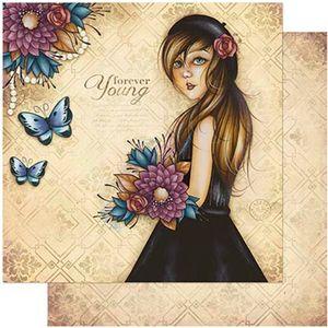 Papel-Scrapbook-Litoarte-305x305-SD-981-Mulher-com-Flores-Coloridas