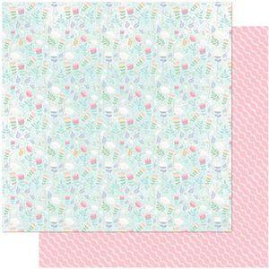 Papel-Scrapbook-Litoarte-305x305-SD-992-Florzinhas-Fundo-Azul-e-Linhas
